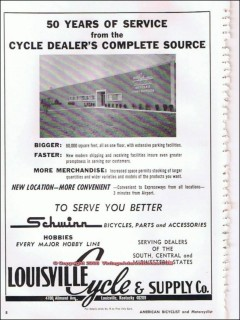 louisville cycle supply company 1966 years service bicycle vintage ad