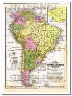 south america 1856 mitchells hand colored engraved antique vintage map