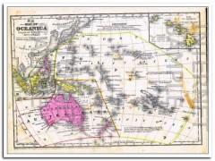 oceanica 1856 australia hawaii malaysia hand colored vintage map