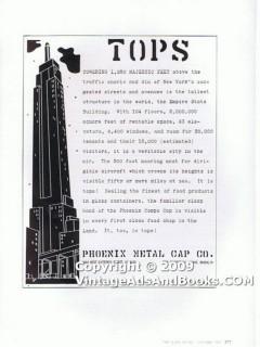 phoenix metal cap company 1938 empire state screw top glass vintage ad