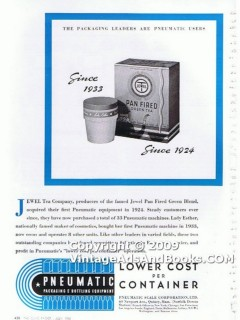 pneumatic scale corp 1938 lower cost per container glass vintage ad