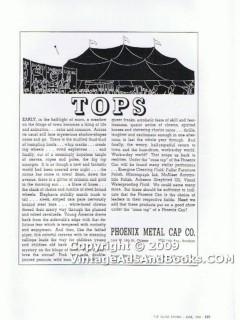 phoenix metal cap company 1938 circus cone top glass vintage ad