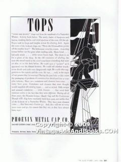 phoenix metal cap company 1938 nantucket whaler screw glass vintage ad