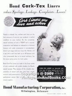 bond mfg corp 1938 glass jar bottle cork-tex liners vintage ad