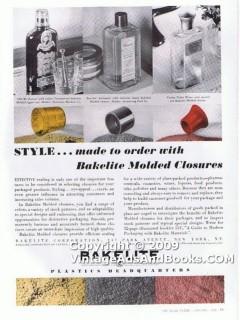 bakelite corp 1938 glass bottle style molded closure cap vintage ad