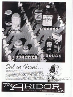 aridor company 1938 out in front jar bottle closure caps vintage ad