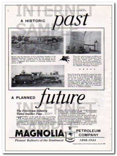 Magnolia Petroleum Company 1934 Vintage Ad Oil Historic Past Future