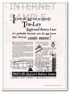 American Cable Company 1934 Vintage Ad Tru-Lay Preformed Rotary Line