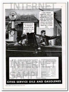 Cities Service 1934 Vintage Ad Oils Gasolenes Titusville Well First