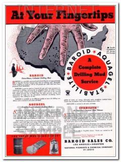 Baroid Sales Company 1934 Vintage Ad Oil Drilling Mud Service Aquagel