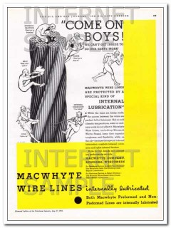 MacWhyte Company 1934 Vintage Ad Oil Wire Lines Internally Lubricated