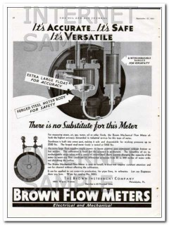 Brown Instrument Company 1934 Vintage Ad Flow Meter Accurate Versatile