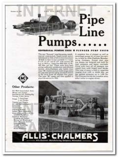 Allis-Chalmers 1934 Vintage Ad Oil Pipeline Centrifugal Plunger Pumps