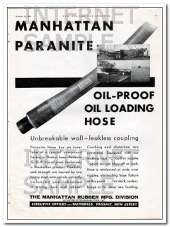 Manhattan Rubber Mfg 1934 Vintage Ad Oil-Proof Loading Hose Paranite