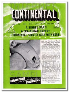 Continental Supply Company 1934 Vintage Ad Oilfield Seal Pipe Coupling