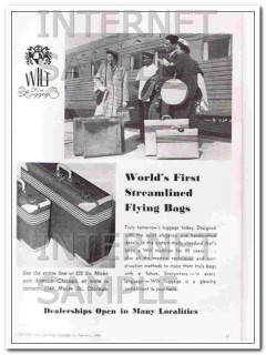 Chas T Wilt Company 1950 Vintage Ad Streamlined Flying Bag World First