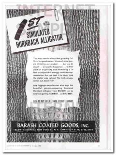 Barash Coated Goods Inc 1950 Vintage Ad Hornback Alligator Simulated