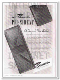 Benner Leather Goods Company 1950 Vintage Ad Wallet President Superb