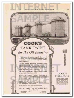Cook Paint Varnish Company 1921 Vintage Ad Oil Industry Tank Coating