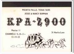 KPA-2900 Jesse Bowman Wichita Falls TX 1960s Vintage Postcard CB QSL