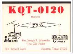 KQT-0120 Joseph Schneider Houston TX 1960s Vintage Postcard CB QSL 1