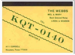 KQT-0140 Mel Webb Houston Texas 1960s Vintage Postcard CB QSL Card