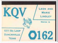 KQV-0162 Leon Lindley Duncanville Texas 1960s Vintage Postcard CB QSL