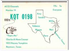 KQT-0198 Charles Cramer Baytown Texas 1960s Vintage Postcard CB QSL