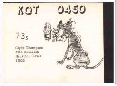 KQT-0450 Clyde Thompson Houston Texas 1960s Vintage Postcard CB QSL