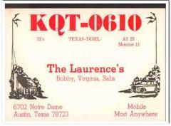 KQT-0610 Bob Laurence Austin Texas 1960s Vintage Postcard CB QSL Card