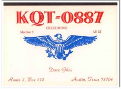 KQT-0887 Dave Giles Austin Texas 1960s Vintage Postcard CB QSL Card