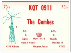 KQT-0911 JR JD Combes Houston Texas 1960s Vintage Postcard CB QSL Card