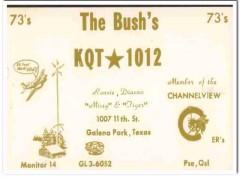 KQT-1012 Ronnie Bush Galena Park Texas 1960s Vintage Postcard CB QSL