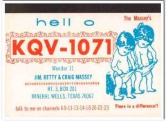 KQV-1071 Jim Massey Mineral Wells TX 1960s Vintage Postcard CB QSL 2