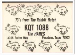 KQT-1088 Dell Hare Pasadena Texas Texas 1960s Vintage Postcard CB QSL