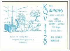 KQV-1129 Larry Griffith Dallas Texas 1960s Vintage Postcard CB QSL