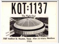 KQT-1137 Allen J Meadows Houston Texas 1960s Vintage Postcard CB QSL