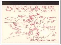KQT-1313 John Phillips Port Arthur Texas 1960s Vintage Postcard CB QSL