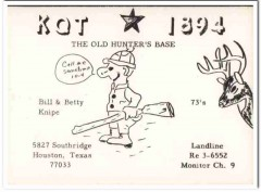 KQT-1894 Bill Knipe Houston Texas 1960s Vintage Postcard CB QSL Card 1
