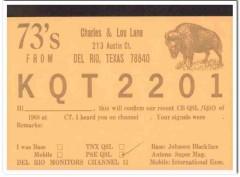 KQT-2201 Charles Lane Del Rio Texas 1960s Vintage Postcard CB QSL Card