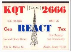 KQT-2666 Joe Brown Austin Texas 1960s Vintage Postcard CB QSL Card 2