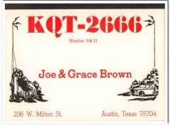 KQT-2666 Joe Brown Austin Texas 1960s Vintage Postcard CB QSL Card3