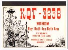KQT-3258 Ray Withrow Houston Texas 1960s Vintage Postcard CB QSL Card