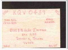 KQV-0439 Bill Doran Sonora Texas 1960s Vintage Postcard CB QSL Card