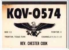 KQV-0574 Rev Chester Cook Trenton Texas 1960s Vintage Postcard CB QSL
