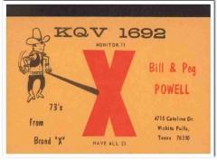 KQV-1692 Bill Powell Wichita Falls Texas 1960s Vintage Postcard CB QSL