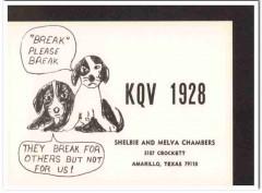 KQV-1928 Shelbie Chambers Amarillo Texas 1960s Vintage Postcard CB QSL