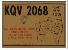 KQV-2068 John Kenes El Paso Texas 1960s Vintage Postcard CB QSL Card