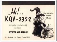KQV-2352 Steve Graham Tyler Texas 1960s Vintage Postcard CB QSL Card