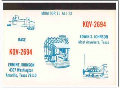 KQV-2694 Edwin Johnson Amarillo Texas 1960s Vintage Postcard CB QSL